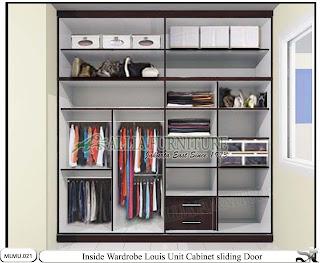 Dalam lemari minimalis tipe sliding cabinet unit Louis