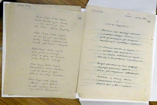 Rękopis wiersza o matce autorstwa Karola Wojtyły.