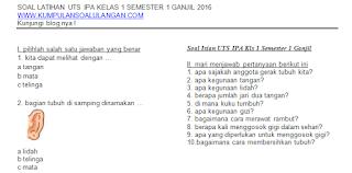 Update Soal Latihan UTS IPA KTSP Kelas 1 Semester 1/ Ganjil Terbaru