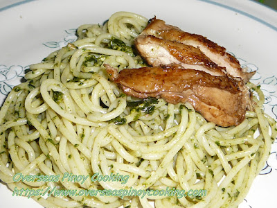 Pili Nut Pesto Spaghetti with Chicken Barbecue Dish