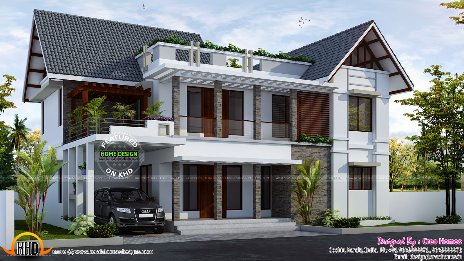 2150 sq ft mix roof house kerala home design and floor plans for Pool design in kerala