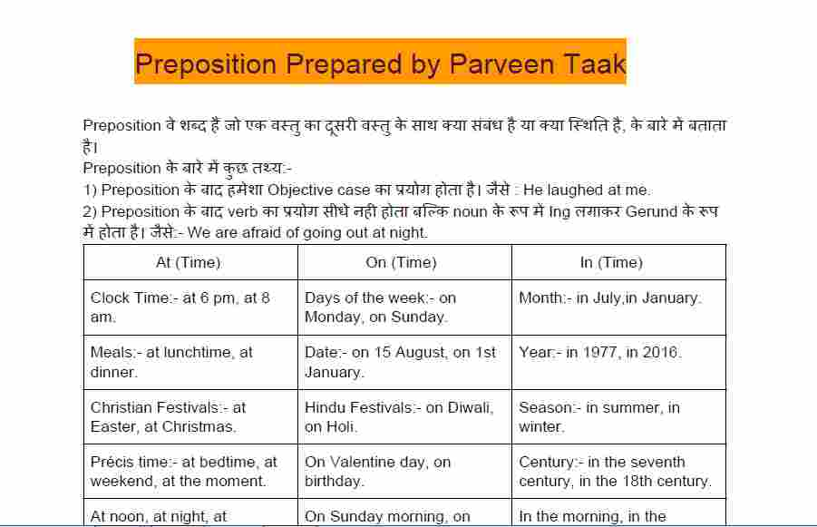 Prepositions questions and answers pdf   Preposition Notes of