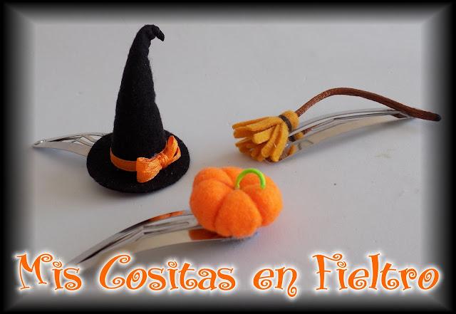 halloween, accesorios para el pelo, goma, pinza, horquilla, calabaza, pumkin, samain, sombrero de bruja, bruja, meiga, escoba