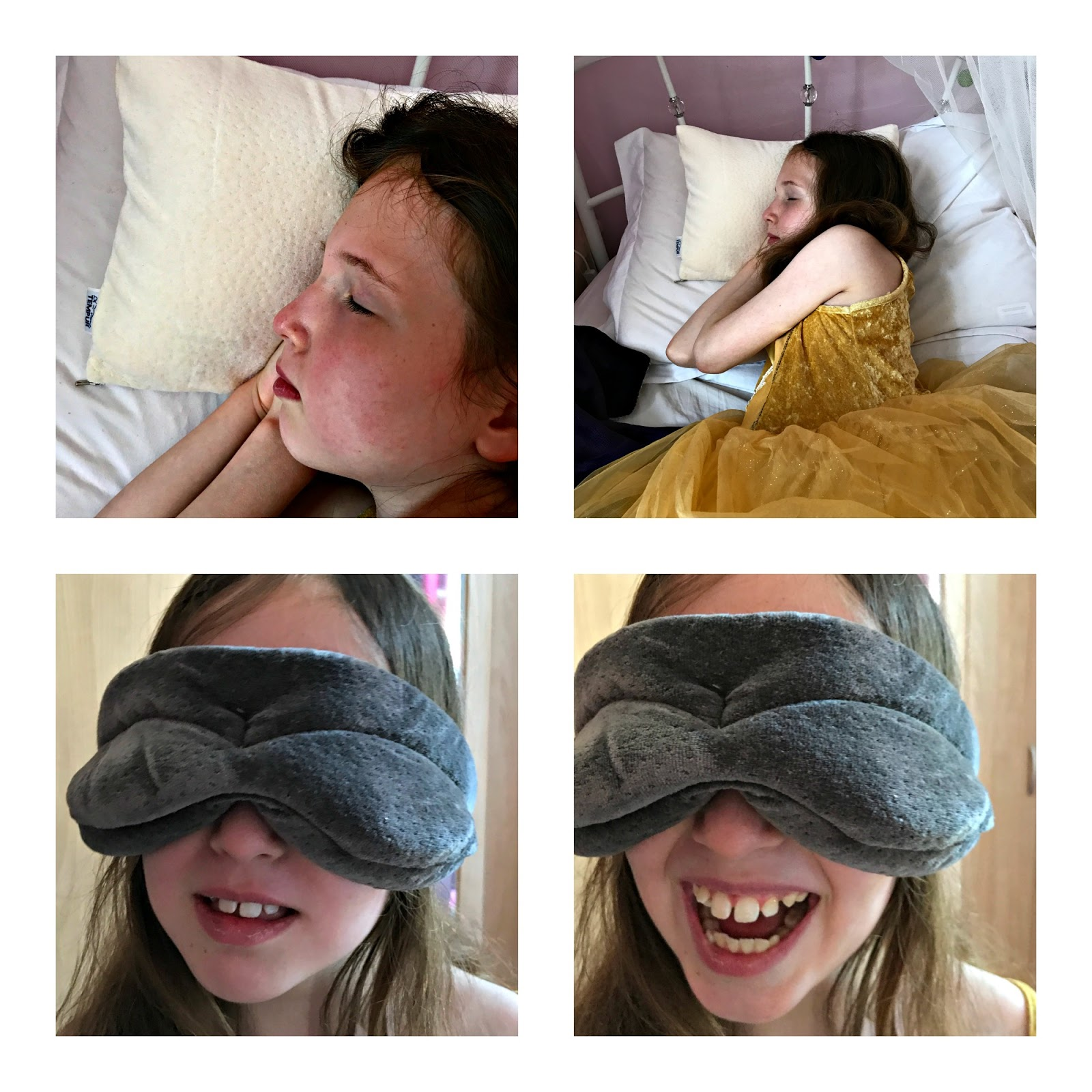 Caitlin testing the Tempur Comfort Travel Pillow & Eye Mask