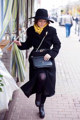 как носить черное пальто