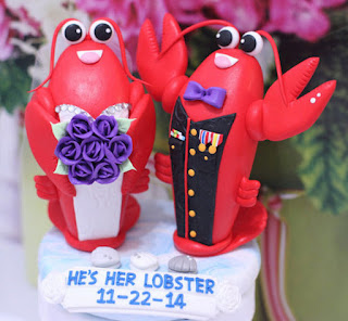 unique and sweet lobster wedding cake topper