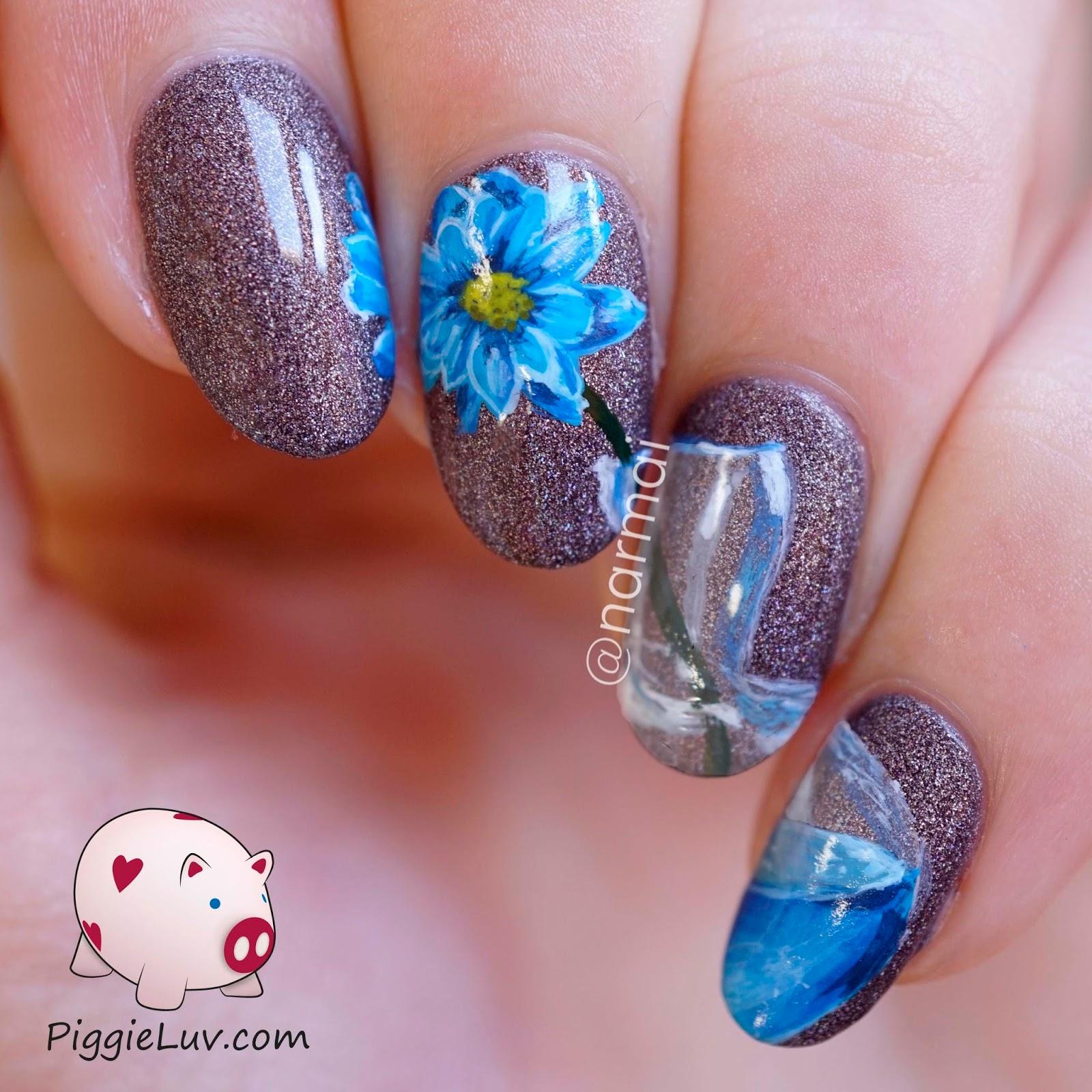 Nail Art Blue Floral: PiggieLuv: Blue Flower In Vase Nail Art