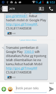 Notifikasi SMS Refund Dana Aplikasi/Game Android di Google Play Store