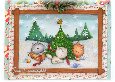 Mulberry Wood Purrfect Christmas Window Card