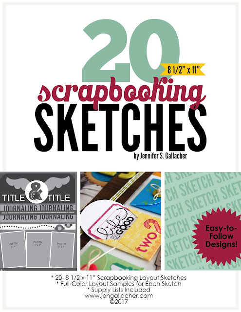 "20 Scrapbooking Sketches for 8.5"" x 11"" Layouts Ebook by Jen Gallacher. #ebook #scrapbooking #scrapbooksketch"
