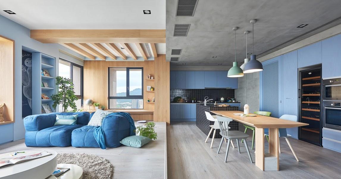 Albastru deschis lemn i beton ntr o amenajare modern for Cei arredamenti