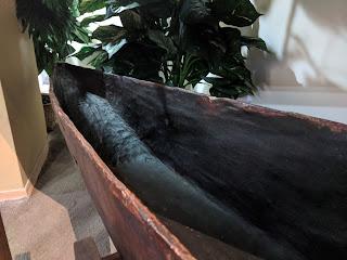 Shuar dugout canoe, interior bow view