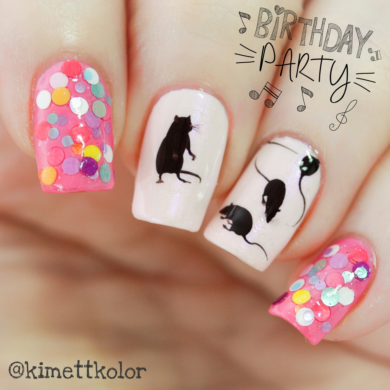 KimettKolor Ratty Birthday Party Nail Art
