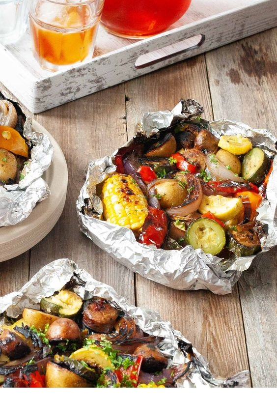 Foil Packs with Sausage, Corn, Zucchini and Potatoes Recipe