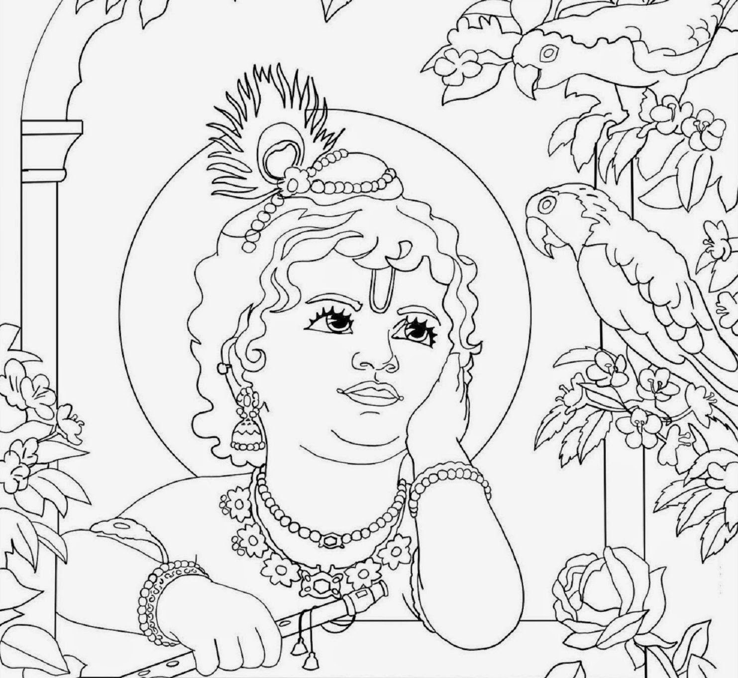 Colour Drawing Free Wallpaper: Lord Baby Krishna Coloring