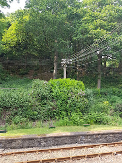 An interesting telegraph pole at the Lakeside & Haverthwaite Railway heritage steam railway in Ulverston
