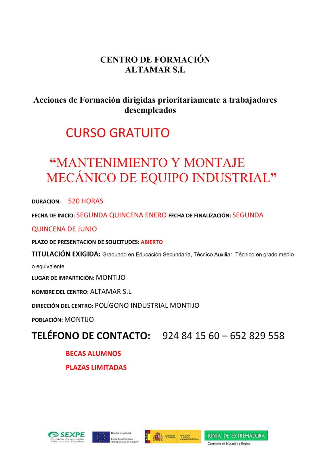 Curso Gratuito Mantenimiento Y Montaje Mec Nico De Equipo  # Certificado Fitosanitario Muebles