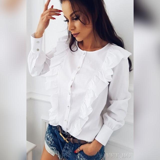 Μακρυμάνικο γυναικείο άσπρο πουκάμισο MARLEN WHITE