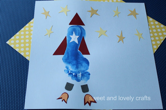 Sweet And Lovely Crafts: Footprint Rocketship