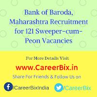 Bank of Baroda, Maharashtra Recruitment for 121 Sweeper-cum-Peon Vacancies