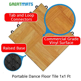 Greamats portable dance floor over grass