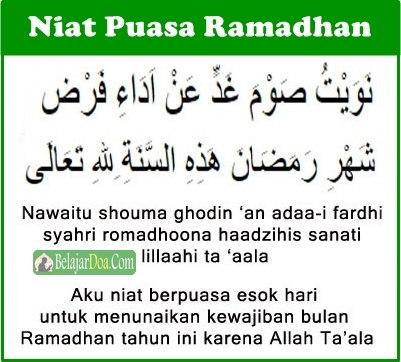 Doa Niat Puasa Wajib Ramadhan Dalam Bahasa Arab Latin Dan Arti Indonesia