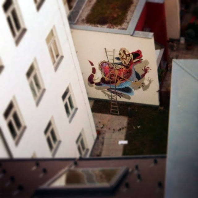 """""""Anatomy of a Snakebait / Rat"""" New Street Art Mural By Austrian Urban Artist Nychos on the streets of Vienna. 3"""