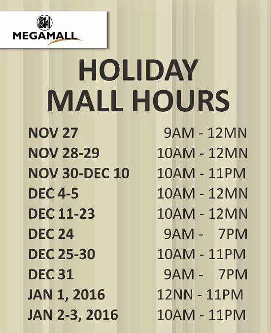 SM Megamall mall schedule Christmas 2015
