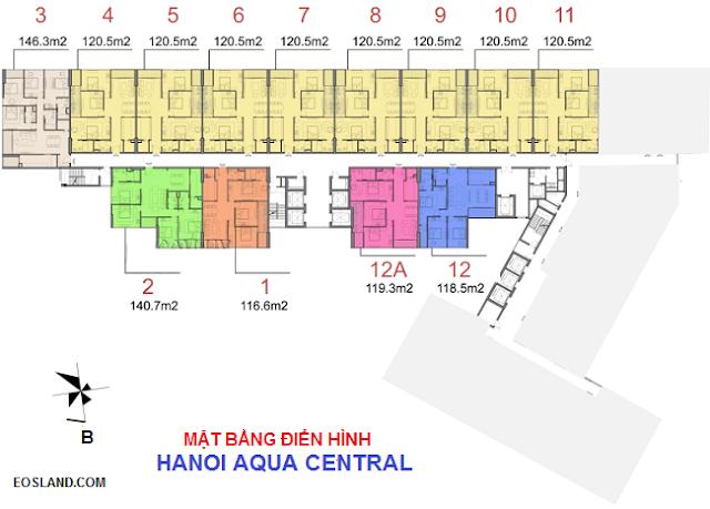 Mặt bằng chung cư Hanoi Aqua Central