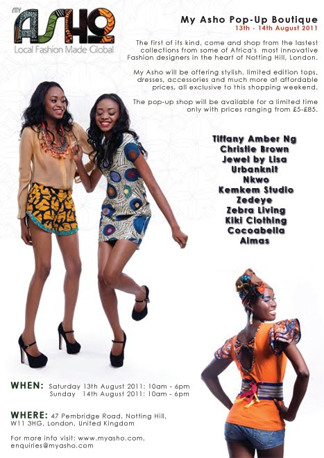 a6dc805e920f2 My Asho, the UK based online fashion store, which stocks items from leading  African designer brands is proud to announce its first pop-up shopping  event on ...