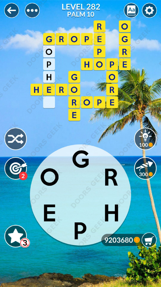 Wordscapes Level 282 answers, cheats, solution for android and ios devices.