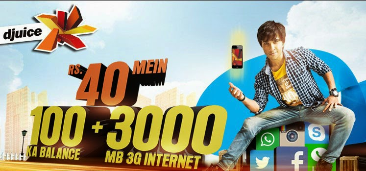 Telenor Djuice New Offer 100 ka Balance 3000 MB Internet