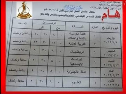 جدول امتحانات الصف السادس الإبتدائي محافظة البحر الاحمر