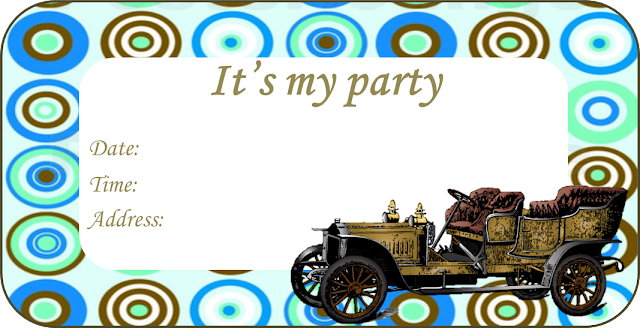 Old Cars Free Printable Invitations, Labels or Cards.