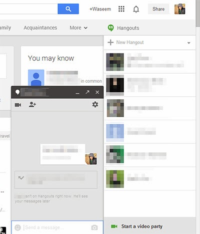 Send messages to your friends or make vidoe calls by google hangout