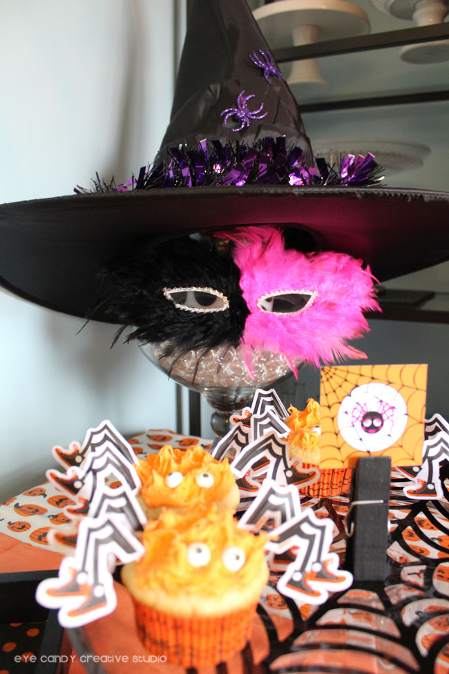 feathered mask, witch hat, spider cupcakes, halloween party food ideas