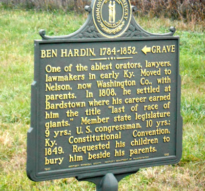 Ben Hardin 1784-1852 Historical Marker in Kentucky