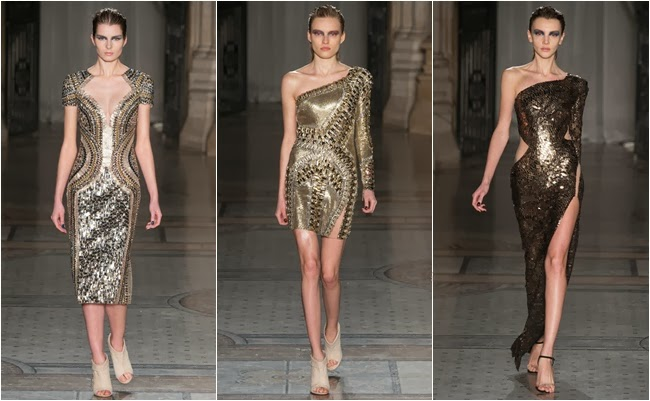 Julien Macdonald fall 2014 gold dresses