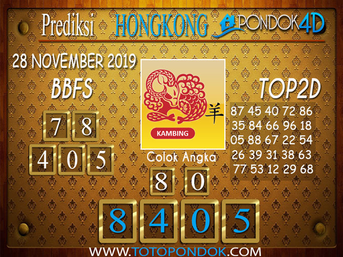Prediksi Togel HONGKONG PONDOK4D 28 NOVEMBER 2019