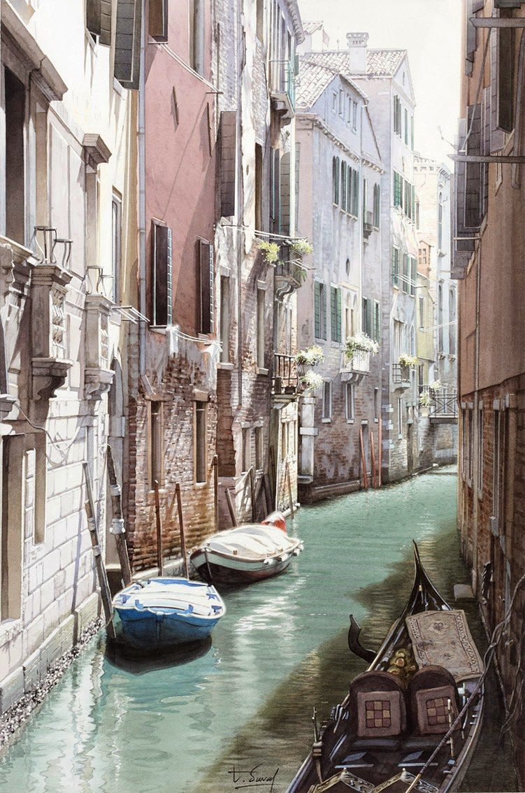 20-Venice-Thierry-Duval-Snippets-of Real-Life-in Watercolor-Paintings-www-designstack-co