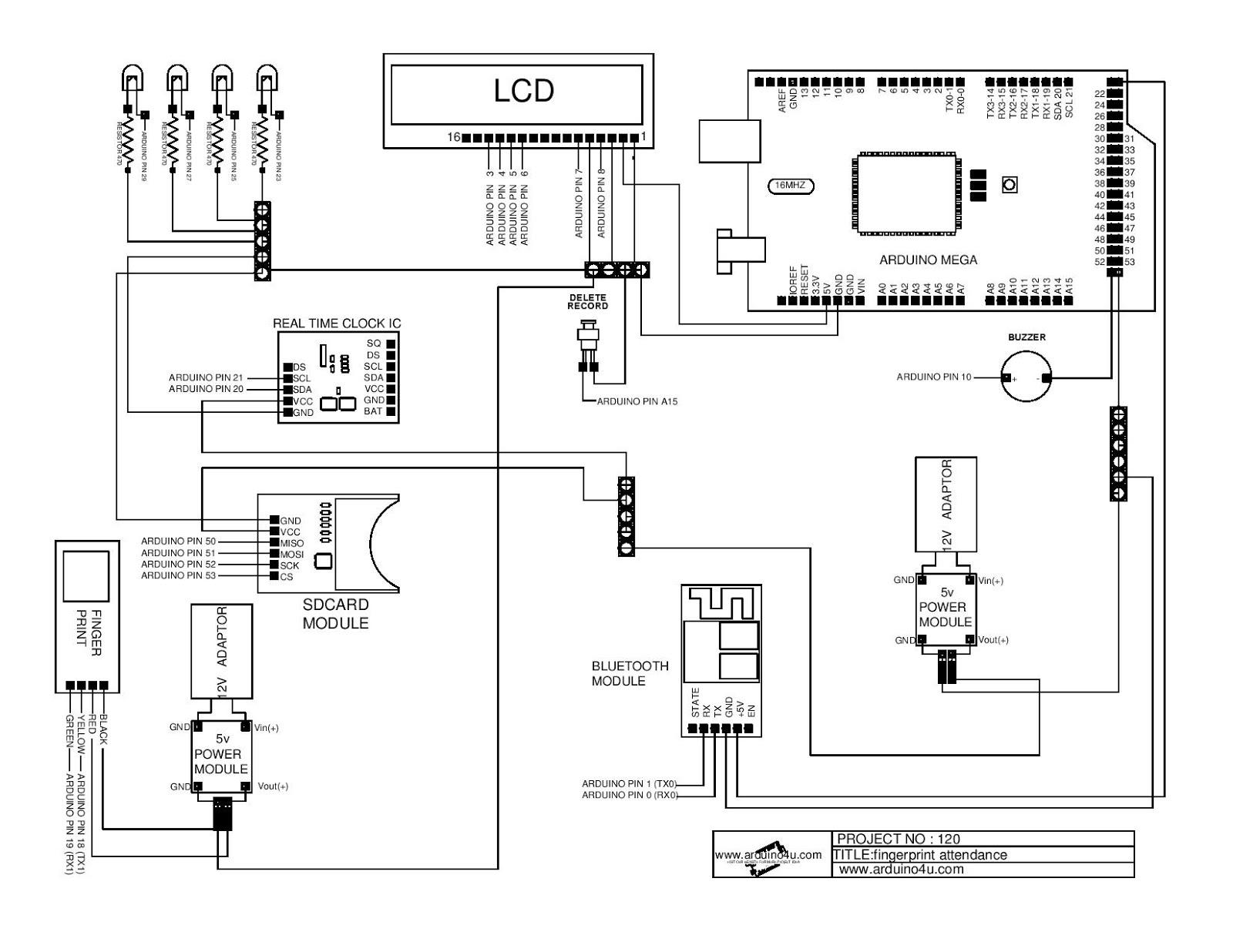 Projek Elektronik Arduino4u 120 Fingerprint Attendance