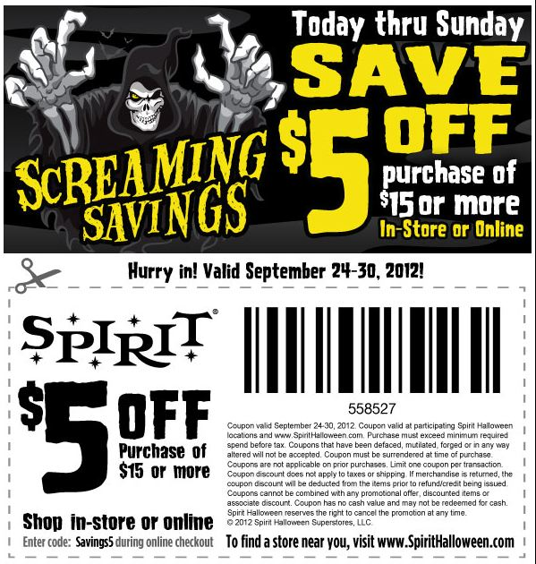 photo about Spirit Halloween Printable Coupon named Frugal Mother and Spouse: Scorching Coupon: $5 off $15 at SPIRIT