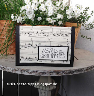 bastelkarte mit pop up grand piano und stampin' Up!
