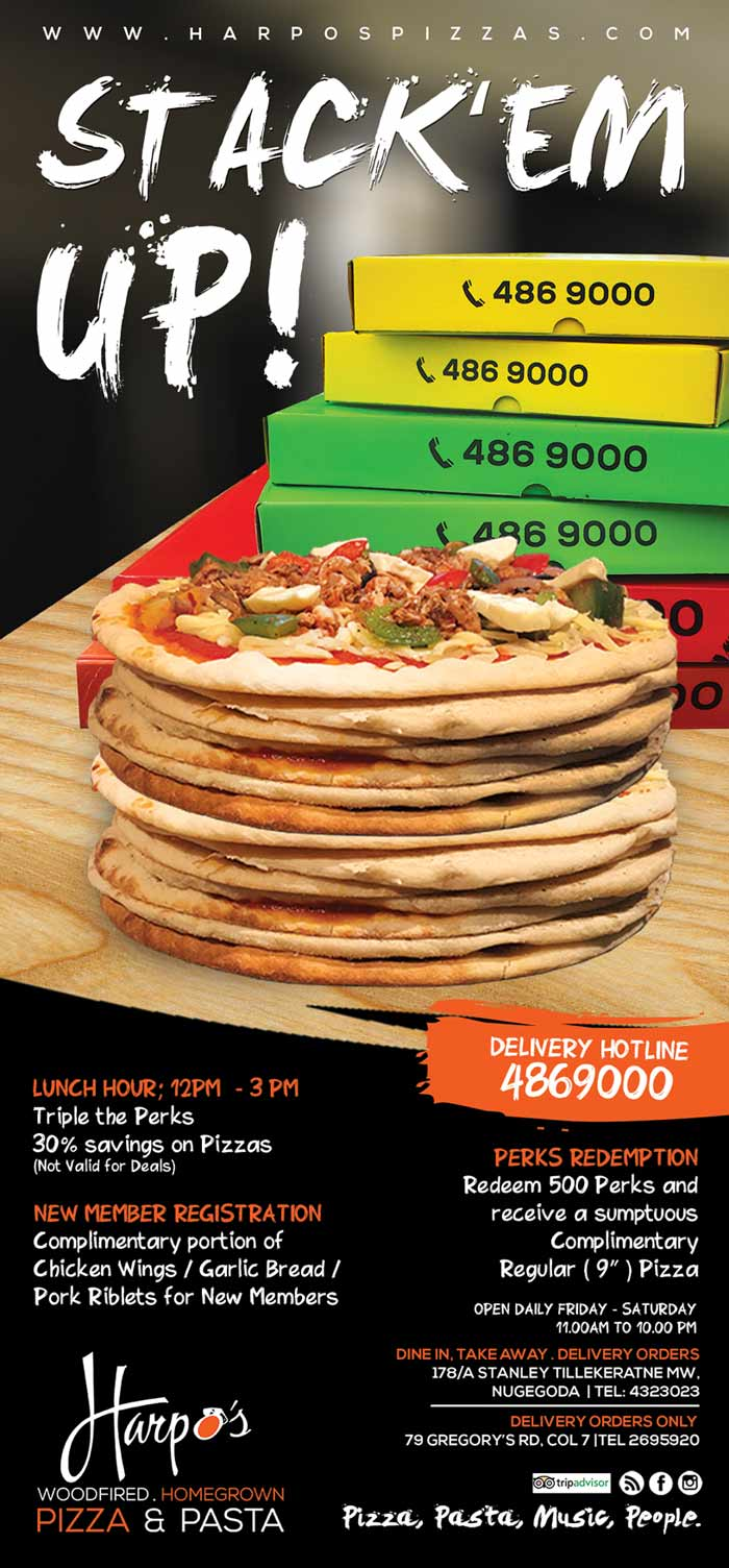 "Harpo's Pizza, now in its 8th year of operation, and the first home grown brand, has launched its first stand alone Pizza Parlor in Nugegoda in April 2015. Located in the busy Nugegoda town, on Stanley Tillekeratne mw, it serves the well known selection of Italian pizza range, a new Home grown flavors with local toppings, in 3 sizes, including Colombo's Largest (19"") pizza, homemade Fresh Pasta, selection of Side Orders, Home- made beverages and dessert."