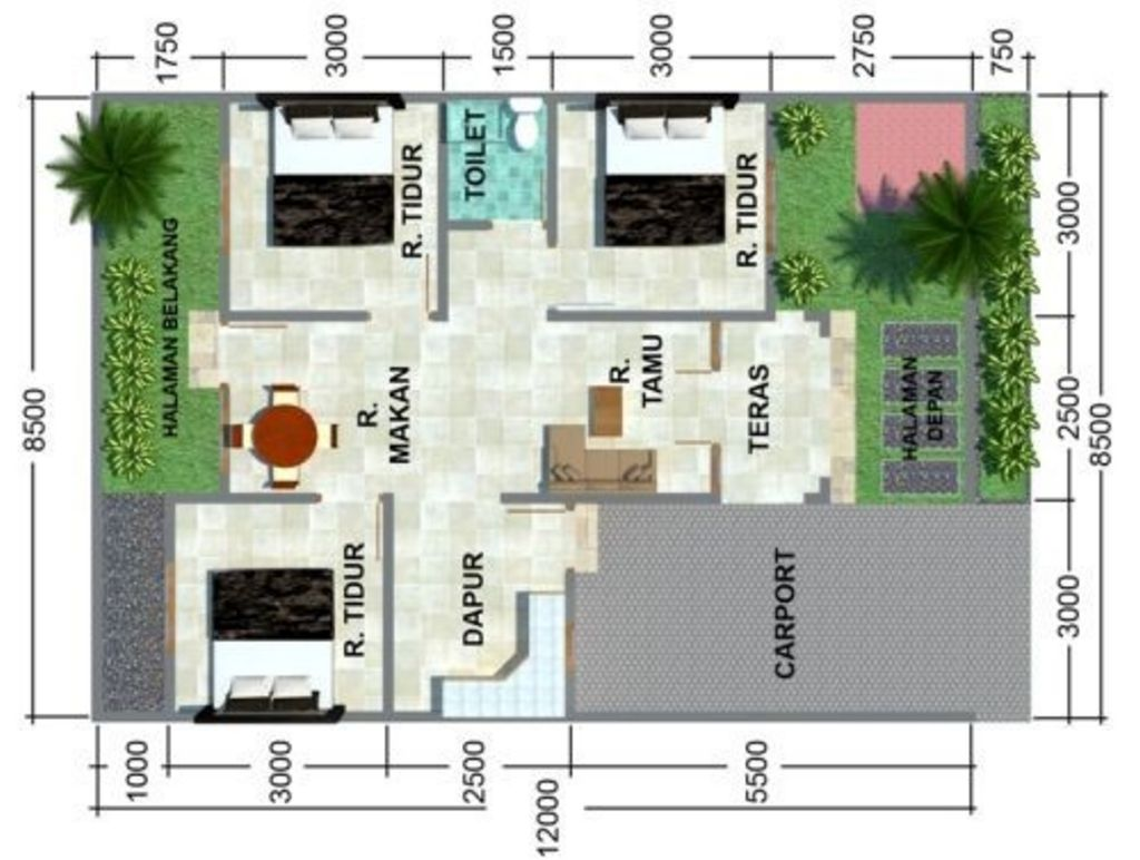 sketsa denah rumah 3 kamar tidur 1 lantai idaman