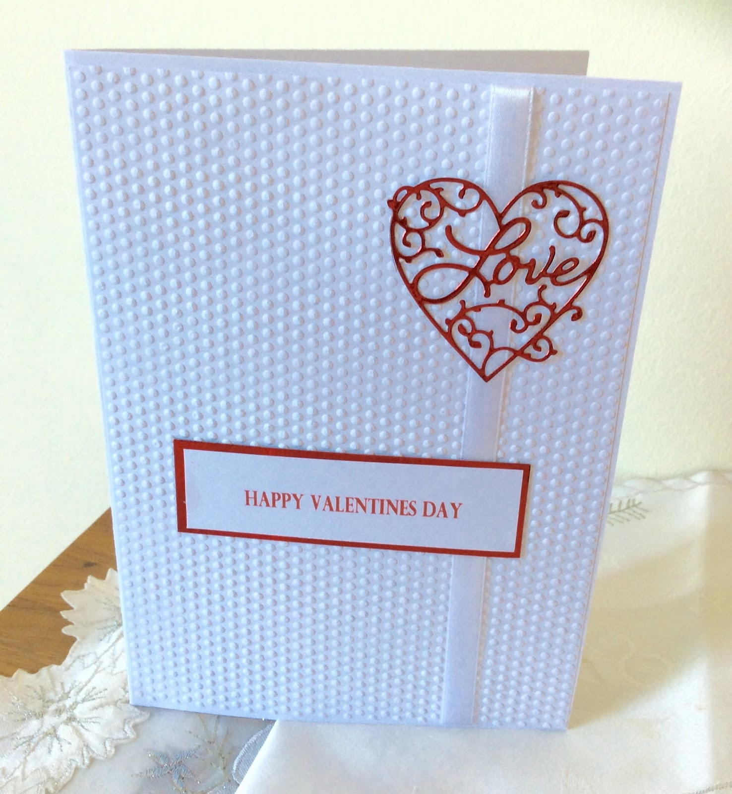 Sunshine cards and crafts valentineromantic i started with a4 card stock and embossed it with my large a4 dotty folder the love heart is diecut from a die i got from joanne sheen online shop m4hsunfo