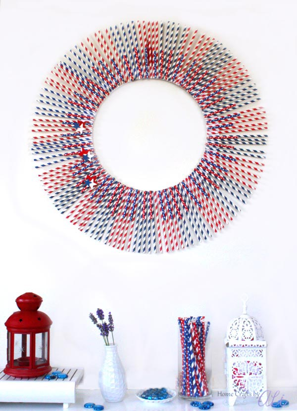 how to make 4th of July paper straw wreath