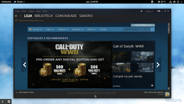 Steam executando no Fedora 26 Workstation