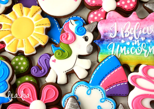 Brightly colored unicorn sugar cookies