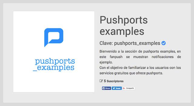 Fanpush vista general en pushports versión web B 1.1.1